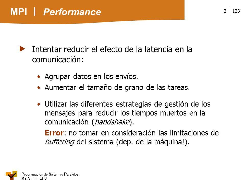 MPI P rogramación de S istemas P aralelos MSIA – IF - EHU 1233 Intentar reducir el efecto de la latencia en la comunicación: Agrupar datos en los enví