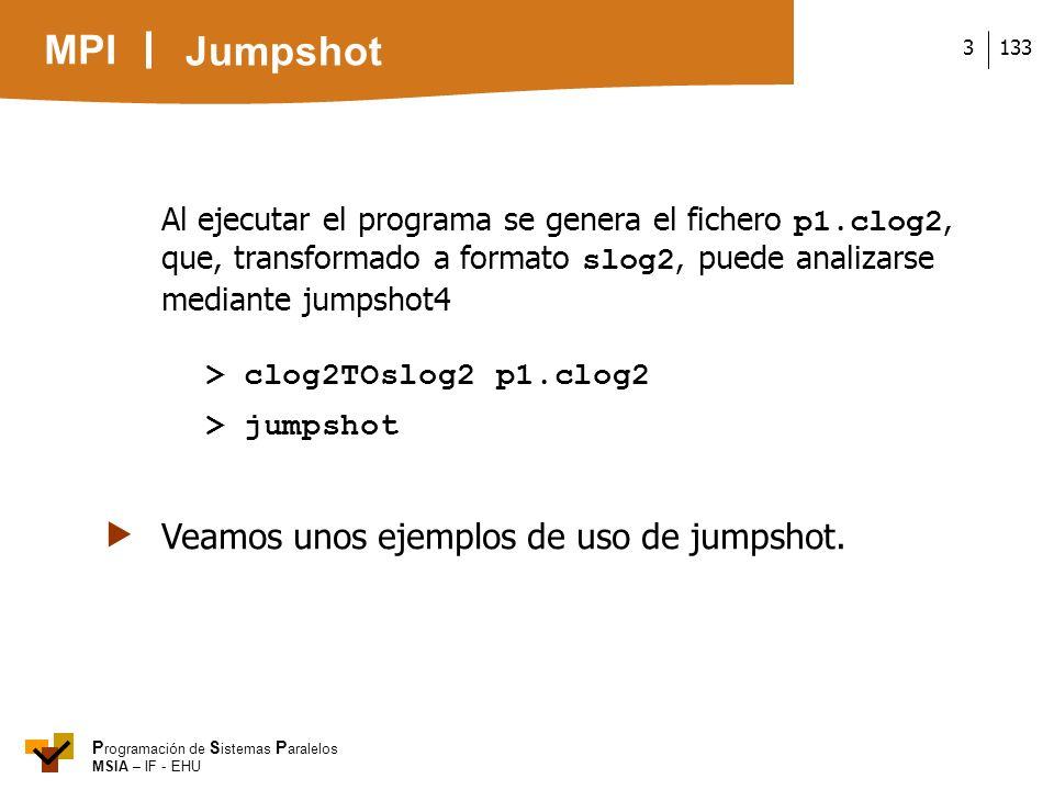 MPI P rogramación de S istemas P aralelos MSIA – IF - EHU 1333 Al ejecutar el programa se genera el fichero p1.clog2, que, transformado a formato slog