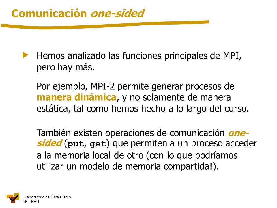 L aboratorio de P aralelismo IF - EHU Hemos analizado las funciones principales de MPI, pero hay más. Por ejemplo, MPI-2 permite generar procesos de m