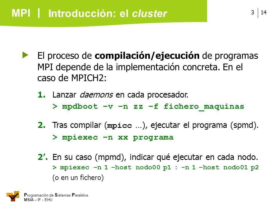 MPI P rogramación de S istemas P aralelos MSIA – IF - EHU 143 El proceso de compilación/ejecución de programas MPI depende de la implementación concre