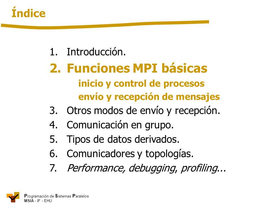 P rogramación de S istemas P aralelos MSIA - IF - EHU 1. Introducción. 2. Funciones MPI básicas inicio y control de procesos envío y recepción de mens