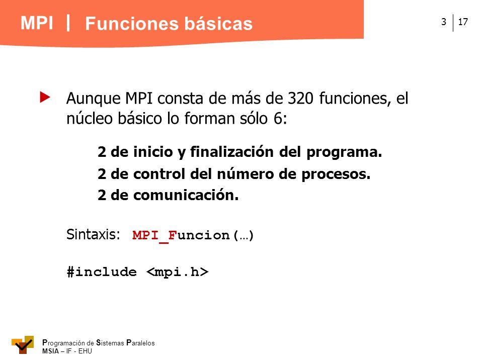MPI P rogramación de S istemas P aralelos MSIA – IF - EHU 173 Aunque MPI consta de más de 320 funciones, el núcleo básico lo forman sólo 6: 2 de inici