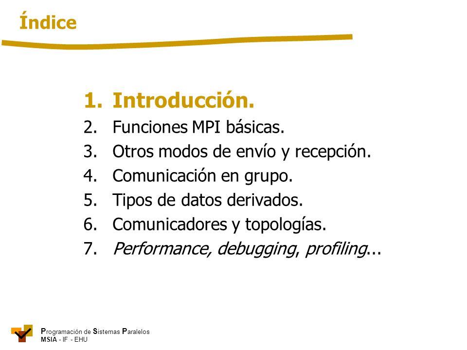 P rogramación de S istemas P aralelos MSIA - IF - EHU 1. Introducción. 2. Funciones MPI básicas. 3.Otros modos de envío y recepción. 4. Comunicación e