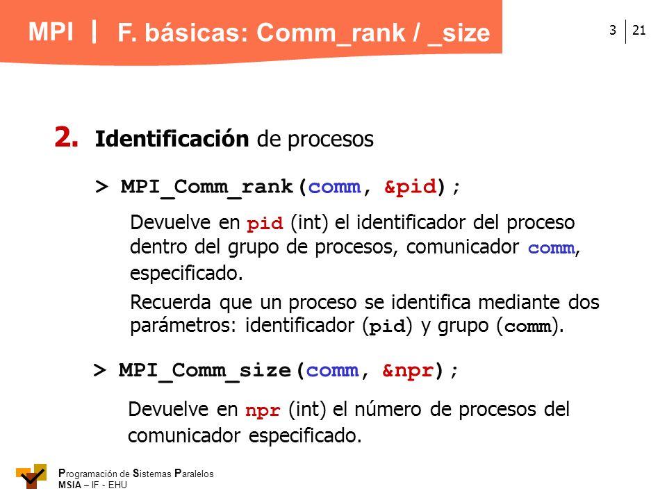 MPI P rogramación de S istemas P aralelos MSIA – IF - EHU 213 2. Identificación de procesos > MPI_Comm_rank(comm, &pid); Devuelve en pid (int) el iden