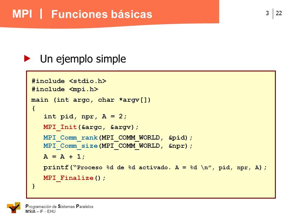 MPI P rogramación de S istemas P aralelos MSIA – IF - EHU 223 Un ejemplo simple #include main (int argc, char *argv[]) { int pid, npr, A = 2; MPI_Init