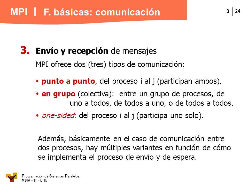 MPI P rogramación de S istemas P aralelos MSIA – IF - EHU 243 3. Envío y recepción de mensajes MPI ofrece dos (tres) tipos de comunicación: punto a pu