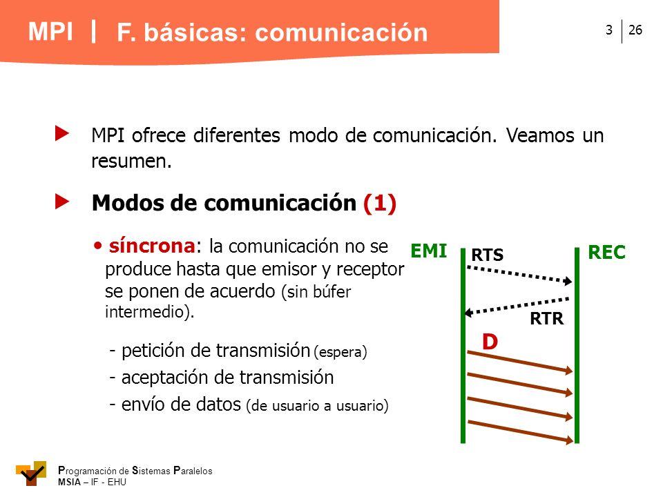 MPI P rogramación de S istemas P aralelos MSIA – IF - EHU 263 MPI ofrece diferentes modo de comunicación. Veamos un resumen. F. básicas: comunicación