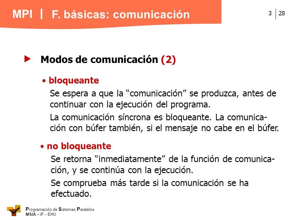MPI P rogramación de S istemas P aralelos MSIA – IF - EHU 283 Modos de comunicación (2) bloqueante Se espera a que la comunicación se produzca, antes