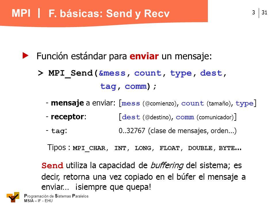 MPI P rogramación de S istemas P aralelos MSIA – IF - EHU 313 > MPI_Send(&mess, count, type, dest, tag, comm); - mensaje a enviar: [ mess (@comienzo),