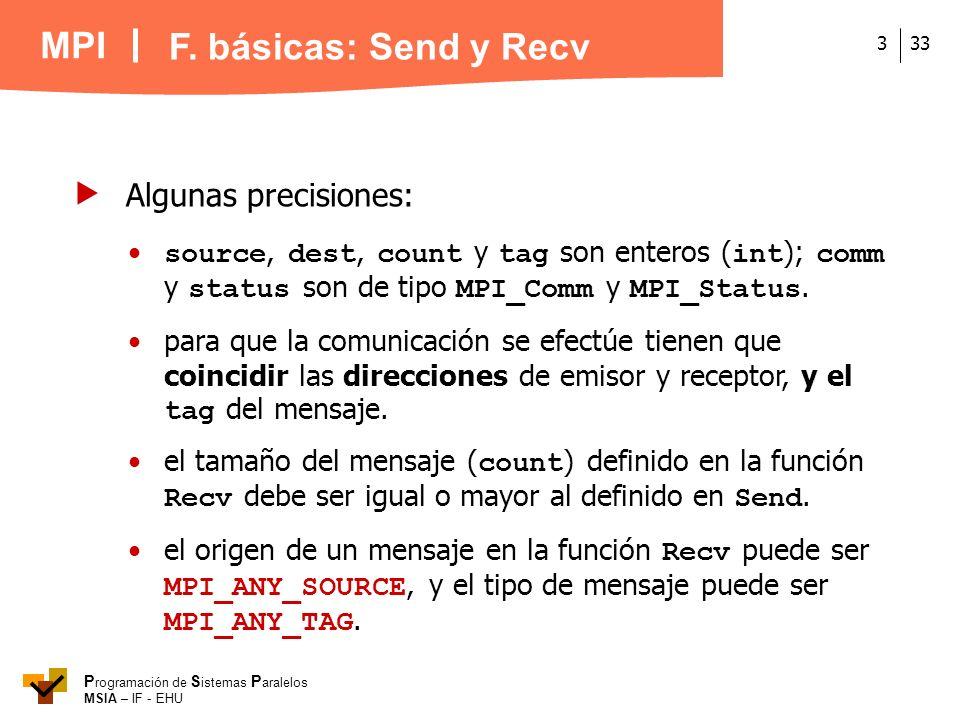 MPI P rogramación de S istemas P aralelos MSIA – IF - EHU 333 Algunas precisiones: source, dest, count y tag son enteros ( int ); comm y status son de