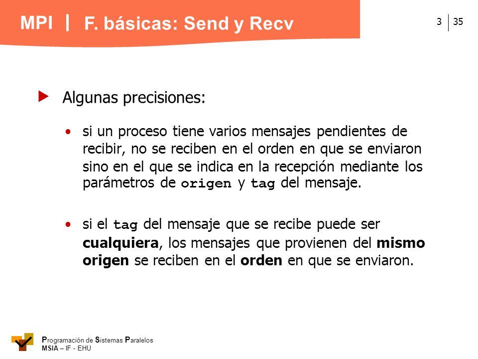 MPI P rogramación de S istemas P aralelos MSIA – IF - EHU 353 si un proceso tiene varios mensajes pendientes de recibir, no se reciben en el orden en