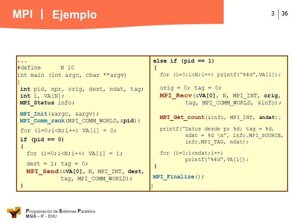 MPI P rogramación de S istemas P aralelos MSIA – IF - EHU 363... #defineN 10 int main (int argc, char **argv) { int pid, npr, orig, dest, ndat, tag; i