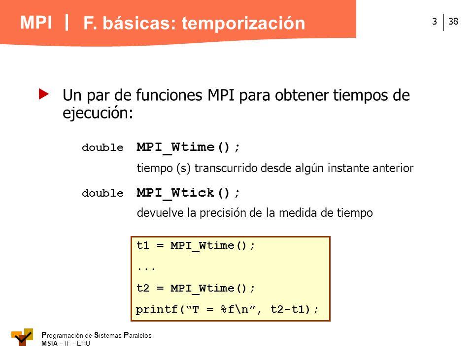MPI P rogramación de S istemas P aralelos MSIA – IF - EHU 383 Un par de funciones MPI para obtener tiempos de ejecución: double MPI_Wtime(); tiempo (s