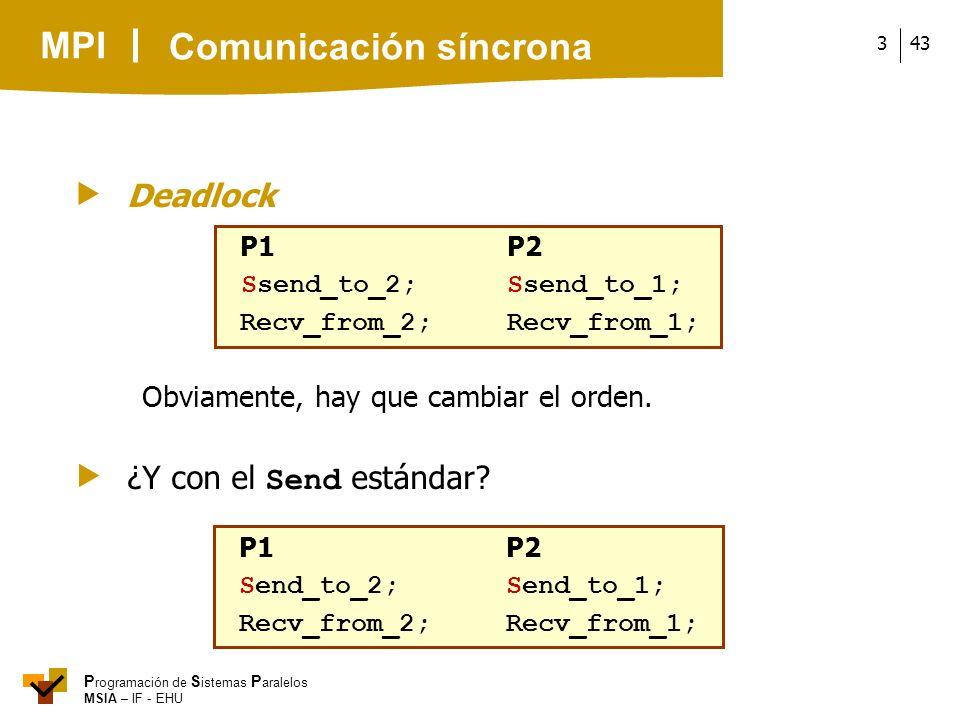 MPI P rogramación de S istemas P aralelos MSIA – IF - EHU 433 Obviamente, hay que cambiar el orden. Deadlock P1P2 Ssend_to_2;Ssend_to_1; Recv_from_2;R