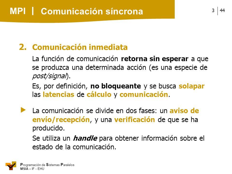 MPI P rogramación de S istemas P aralelos MSIA – IF - EHU 443 2. Comunicación inmediata La función de comunicación retorna sin esperar a que se produz