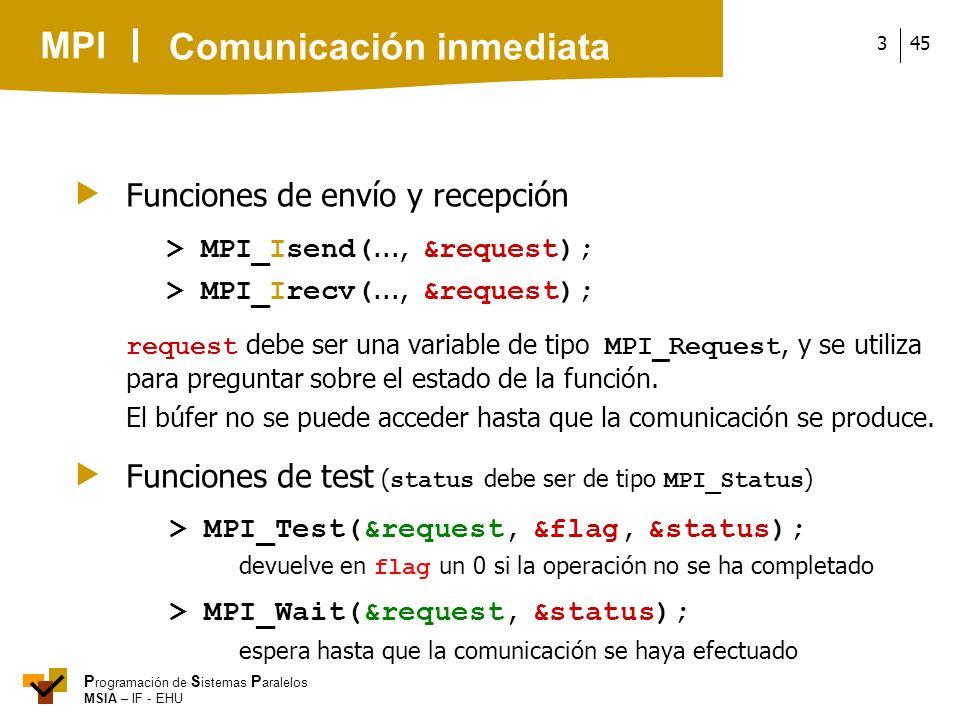 MPI P rogramación de S istemas P aralelos MSIA – IF - EHU 453 Funciones de envío y recepción > MPI_Isend(..., &request); > MPI_Irecv(..., &request); r