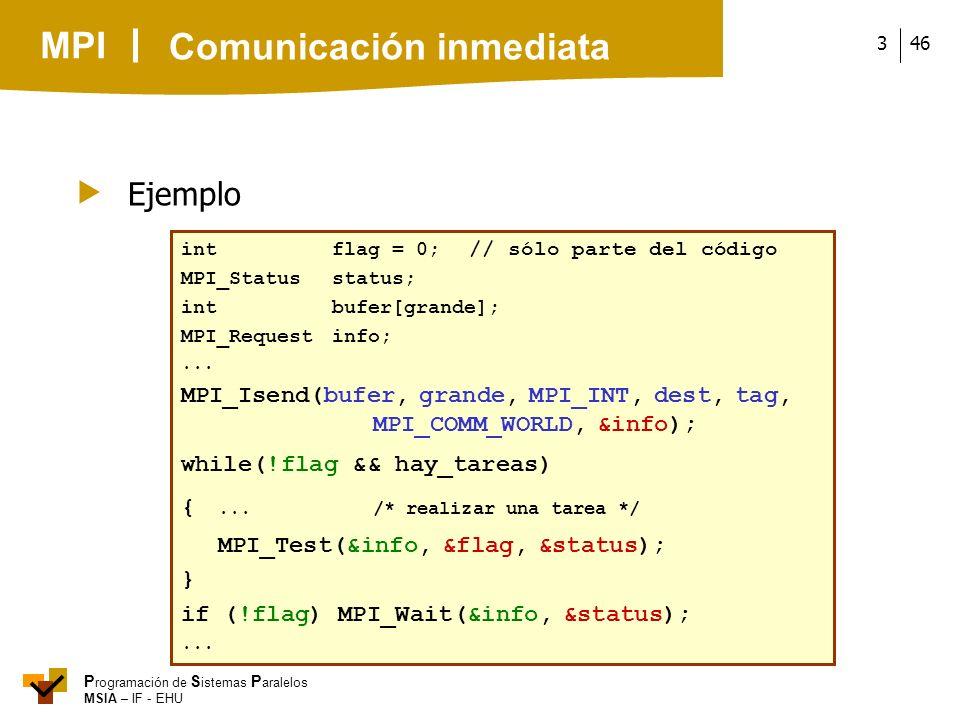 MPI P rogramación de S istemas P aralelos MSIA – IF - EHU 463 Ejemplo intflag = 0; // sólo parte del código MPI_Statusstatus; intbufer[grande]; MPI_Re