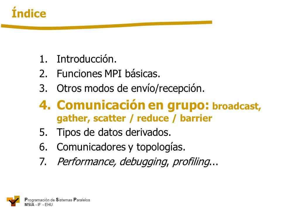 P rogramación de S istemas P aralelos MSIA - IF - EHU 1. Introducción. 2. Funciones MPI básicas. 3.Otros modos de envío/recepción. 4.Comunicación en g