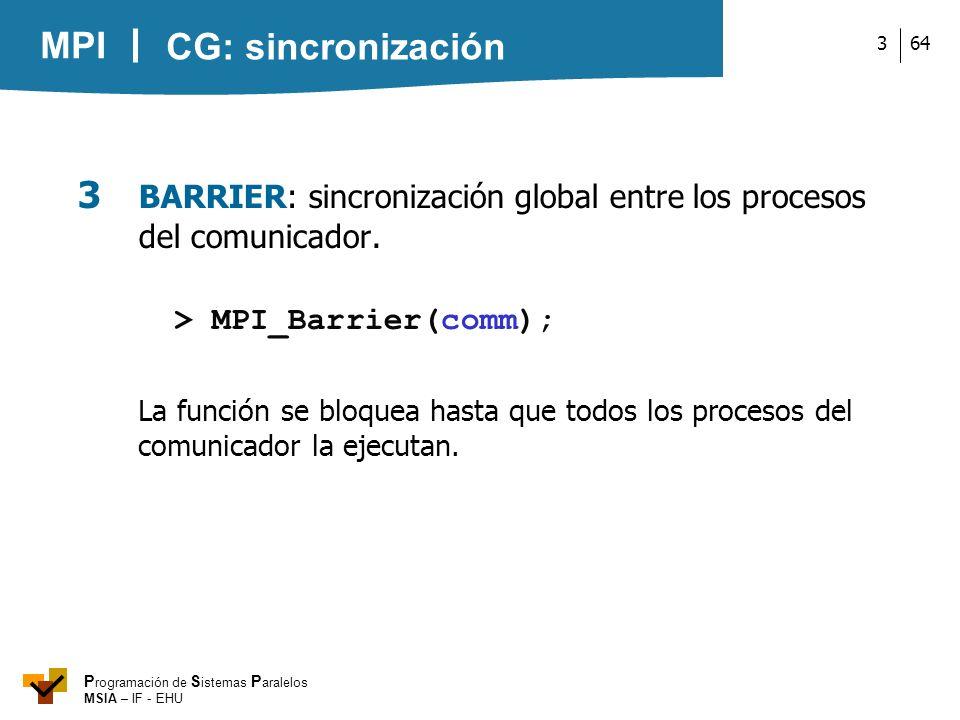 MPI P rogramación de S istemas P aralelos MSIA – IF - EHU 643 3 BARRIER: sincronización global entre los procesos del comunicador. > MPI_Barrier(comm)