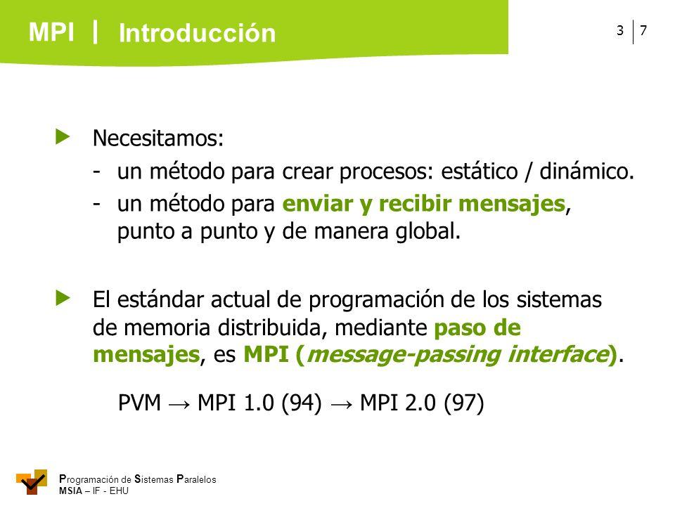 MPI P rogramación de S istemas P aralelos MSIA – IF - EHU 73 El estándar actual de programación de los sistemas de memoria distribuida, mediante paso