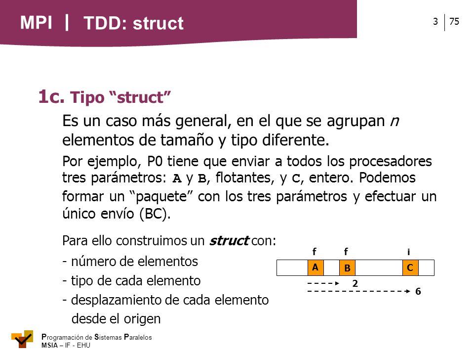 MPI P rogramación de S istemas P aralelos MSIA – IF - EHU 753 1c. Tipo struct Es un caso más general, en el que se agrupan n elementos de tamaño y tip