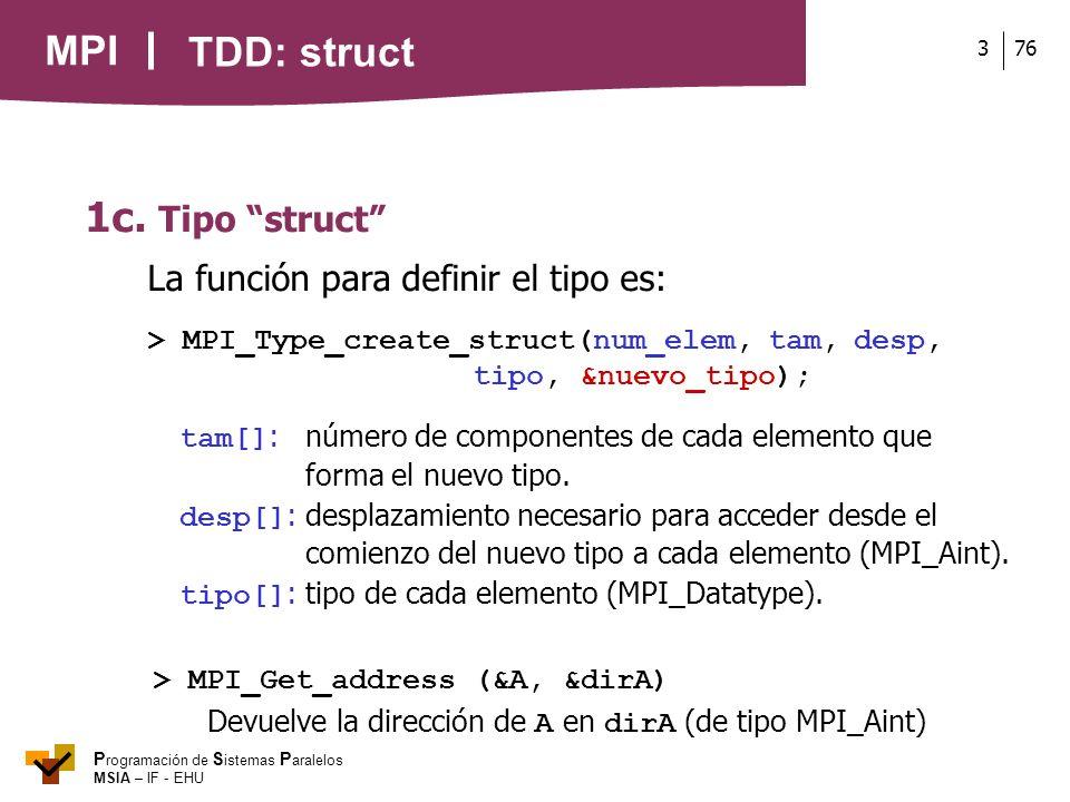 MPI P rogramación de S istemas P aralelos MSIA – IF - EHU 763 1c. Tipo struct La función para definir el tipo es: > MPI_Type_create_struct(num_elem, t