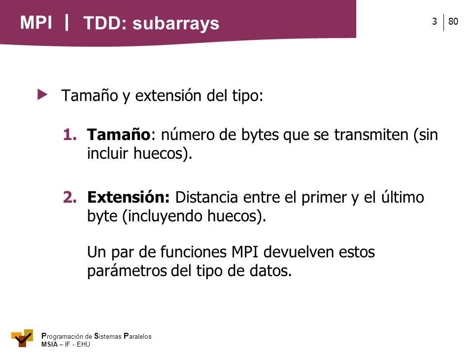 MPI P rogramación de S istemas P aralelos MSIA – IF - EHU 803 TDD: subarrays Tamaño y extensión del tipo: 1. Tamaño: número de bytes que se transmiten