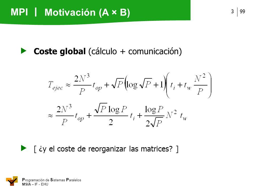 MPI P rogramación de S istemas P aralelos MSIA – IF - EHU 993 Coste global (cálculo + comunicación) [ ¿y el coste de reorganizar las matrices? ] Motiv