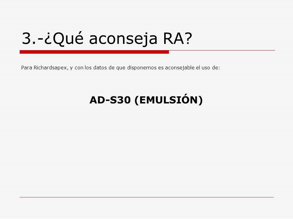 3.-¿Qué aconseja RA? Para Richardsapex, y con los datos de que disponemos es aconsejable el uso de: AD-S30 (EMULSIÓN)