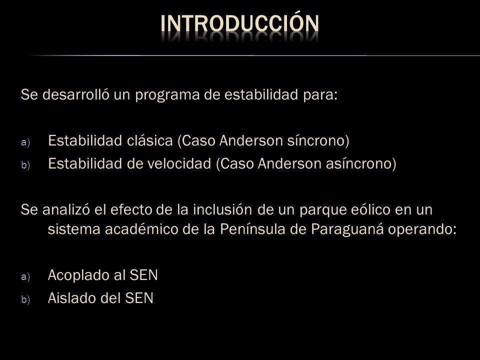 Se desarrolló un programa de estabilidad para: a) Estabilidad clásica (Caso Anderson síncrono) b) Estabilidad de velocidad (Caso Anderson asíncrono) S