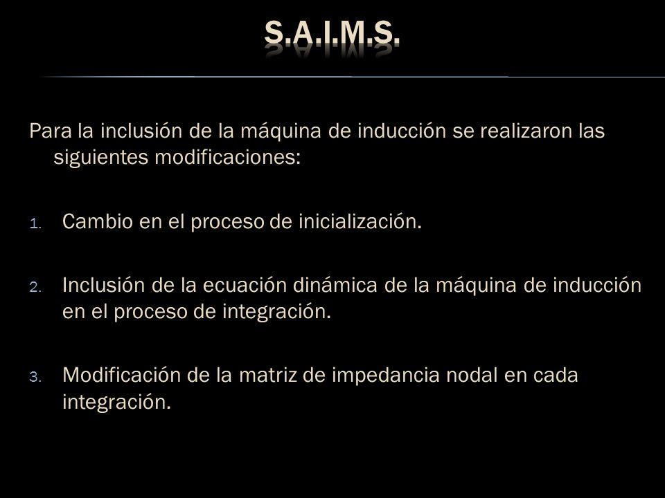 Para la inclusión de la máquina de inducción se realizaron las siguientes modificaciones: 1. Cambio en el proceso de inicialización. 2. Inclusión de l