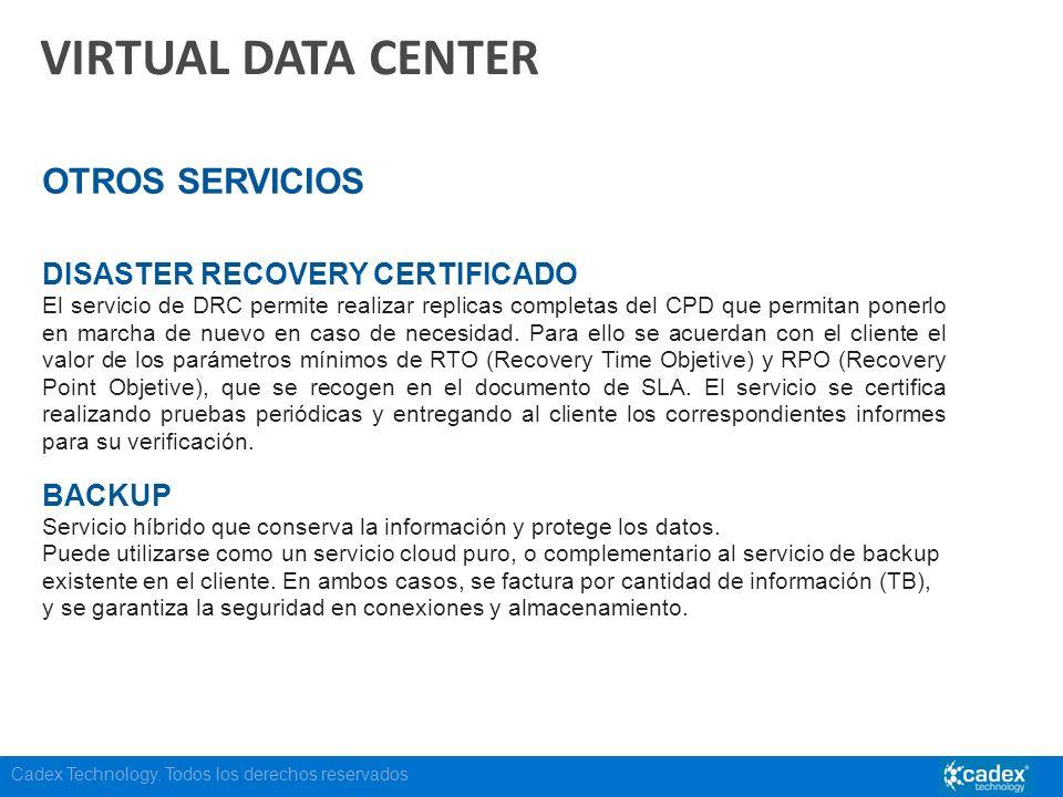 Cadex Technology. Todos los derechos reservados VIRTUAL DATA CENTER OTROS SERVICIOS DISASTER RECOVERY CERTIFICADO El servicio de DRC permite realizar