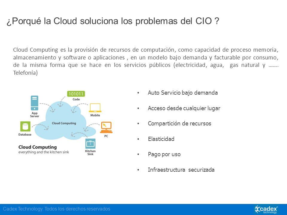 Cadex Technology. Todos los derechos reservados ¿Porqué la Cloud soluciona los problemas del CIO ? Cloud Computing es la provisión de recursos de comp