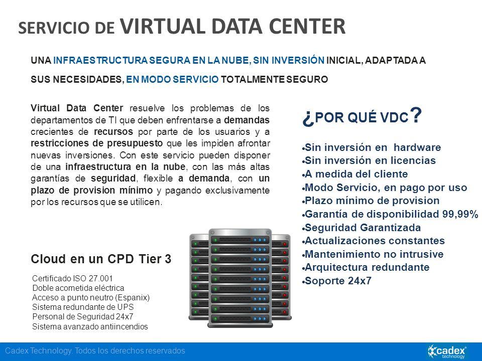 Cadex Technology. Todos los derechos reservados SERVICIO DE VIRTUAL DATA CENTER UNA INFRAESTRUCTURA SEGURA EN LA NUBE, SIN INVERSIÓN INICIAL, ADAPTADA