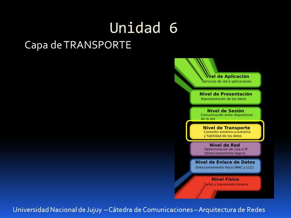 Unidad 6 Universidad Nacional de Jujuy – Cátedra de Comunicaciones – Arquitectura de Redes Capa de TRANSPORTE