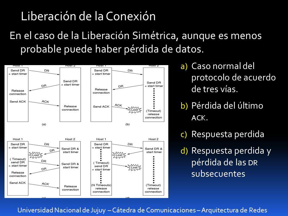 Universidad Nacional de Jujuy – Cátedra de Comunicaciones – Arquitectura de Redes Liberación de la Conexión En el caso de la Liberación Simétrica, aunque es menos probable puede haber pérdida de datos.