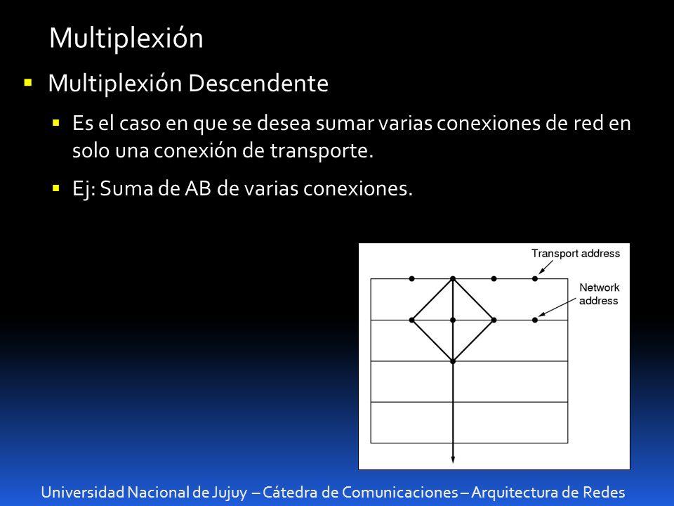 Universidad Nacional de Jujuy – Cátedra de Comunicaciones – Arquitectura de Redes Multiplexión Multiplexión Descendente Es el caso en que se desea sumar varias conexiones de red en solo una conexión de transporte.