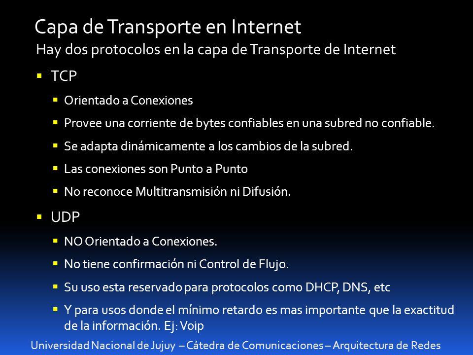 Universidad Nacional de Jujuy – Cátedra de Comunicaciones – Arquitectura de Redes Capa de Transporte en Internet Hay dos protocolos en la capa de Transporte de Internet TCP Orientado a Conexiones Provee una corriente de bytes confiables en una subred no confiable.