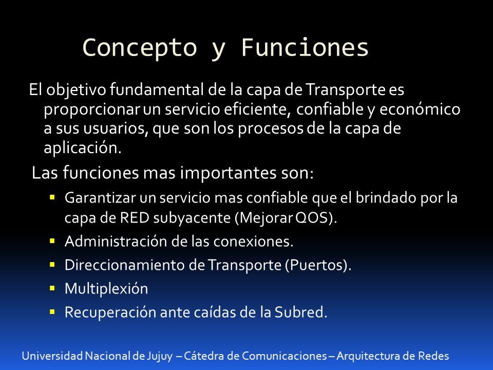 Concepto y Funciones Universidad Nacional de Jujuy – Cátedra de Comunicaciones – Arquitectura de Redes El objetivo fundamental de la capa de Transporte es proporcionar un servicio eficiente, confiable y económico a sus usuarios, que son los procesos de la capa de aplicación.