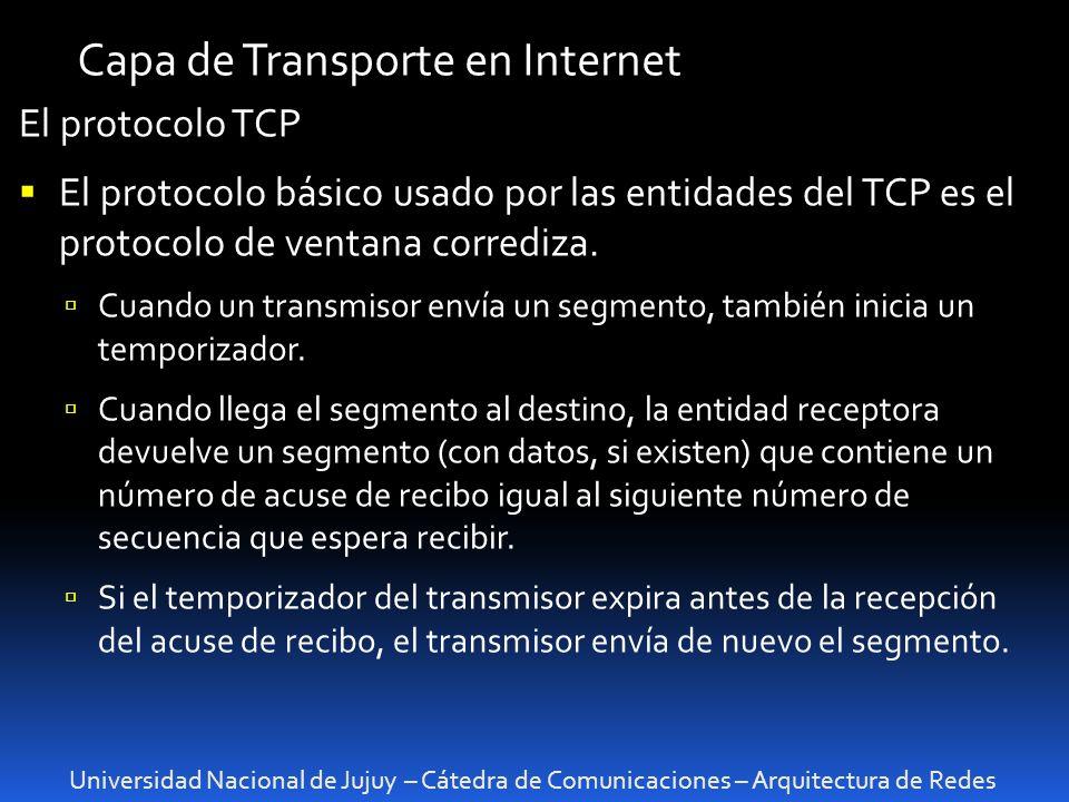 Universidad Nacional de Jujuy – Cátedra de Comunicaciones – Arquitectura de Redes Capa de Transporte en Internet El protocolo TCP El protocolo básico usado por las entidades del TCP es el protocolo de ventana corrediza.