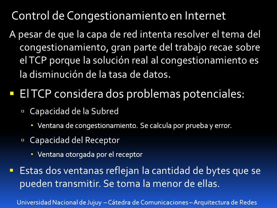 Universidad Nacional de Jujuy – Cátedra de Comunicaciones – Arquitectura de Redes Control de Congestionamiento en Internet A pesar de que la capa de red intenta resolver el tema del congestionamiento, gran parte del trabajo recae sobre el TCP porque la solución real al congestionamiento es la disminución de la tasa de datos.