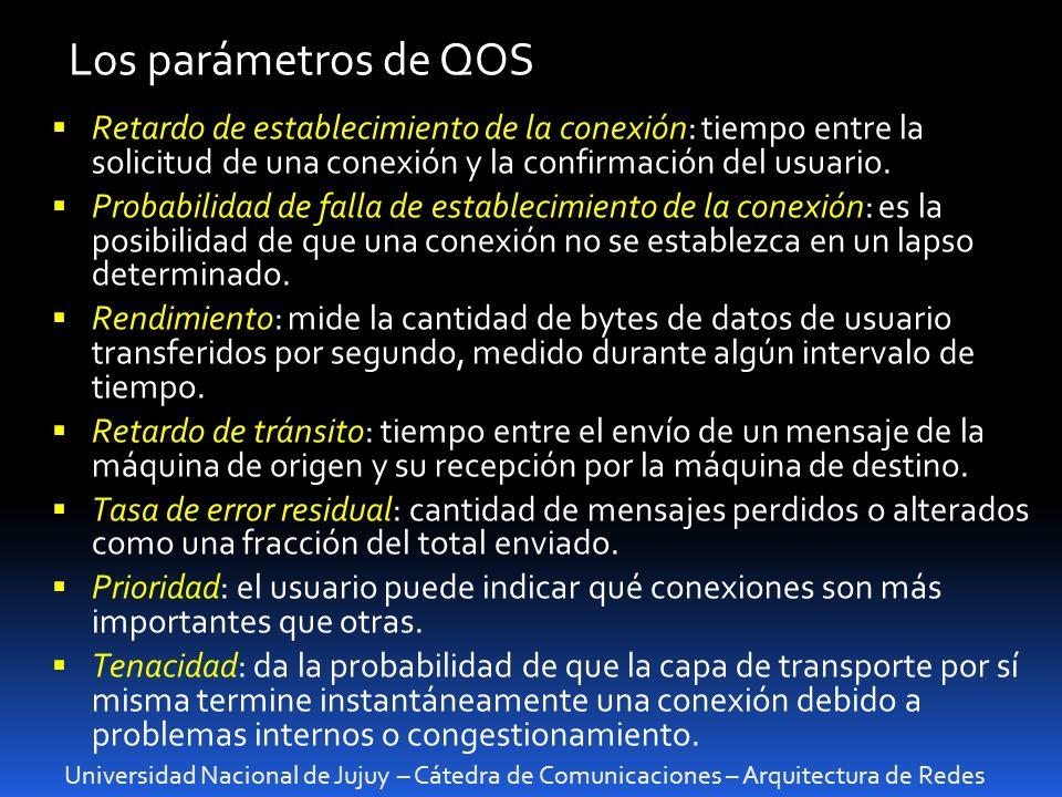 Universidad Nacional de Jujuy – Cátedra de Comunicaciones – Arquitectura de Redes Los parámetros de QOS Retardo de establecimiento de la conexión: tiempo entre la solicitud de una conexión y la confirmación del usuario.