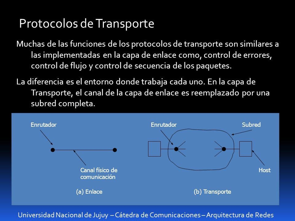 Universidad Nacional de Jujuy – Cátedra de Comunicaciones – Arquitectura de Redes Protocolos de Transporte Muchas de las funciones de los protocolos de transporte son similares a las implementadas en la capa de enlace como, control de errores, control de flujo y control de secuencia de los paquetes.