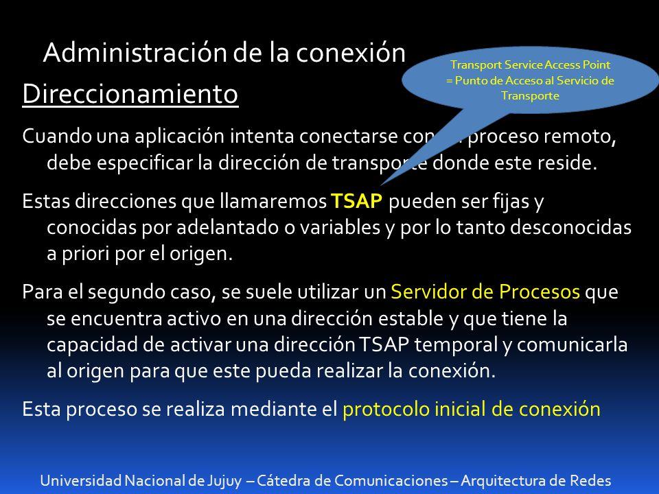 Universidad Nacional de Jujuy – Cátedra de Comunicaciones – Arquitectura de Redes Administración de la conexión Direccionamiento Cuando una aplicación intenta conectarse con un proceso remoto, debe especificar la dirección de transporte donde este reside.