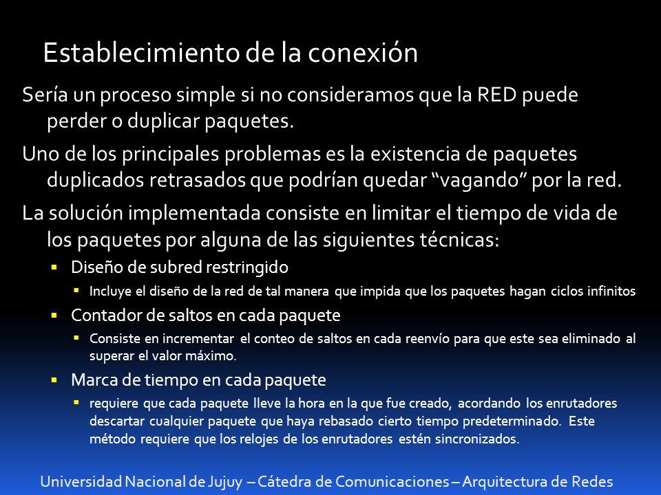 Universidad Nacional de Jujuy – Cátedra de Comunicaciones – Arquitectura de Redes Establecimiento de la conexión Sería un proceso simple si no consideramos que la RED puede perder o duplicar paquetes.
