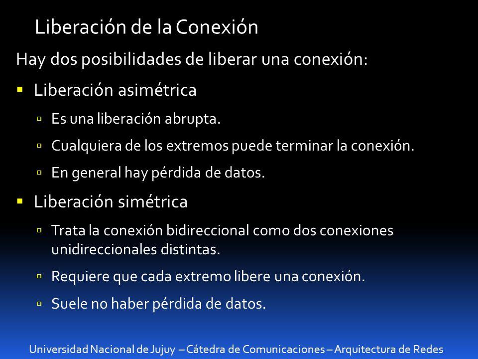 Universidad Nacional de Jujuy – Cátedra de Comunicaciones – Arquitectura de Redes Liberación de la Conexión Hay dos posibilidades de liberar una conexión: Liberación asimétrica Es una liberación abrupta.