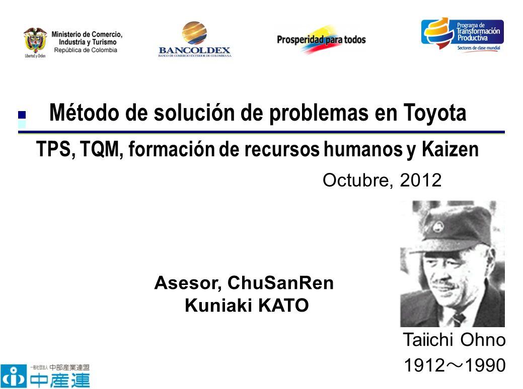 Octubre, 2012 Método de solución de problemas en Toyota TPS, TQM, formación de recursos humanos y Kaizen Asesor, ChuSanRen Kuniaki KATO Taiichi Ohno 1912 1990