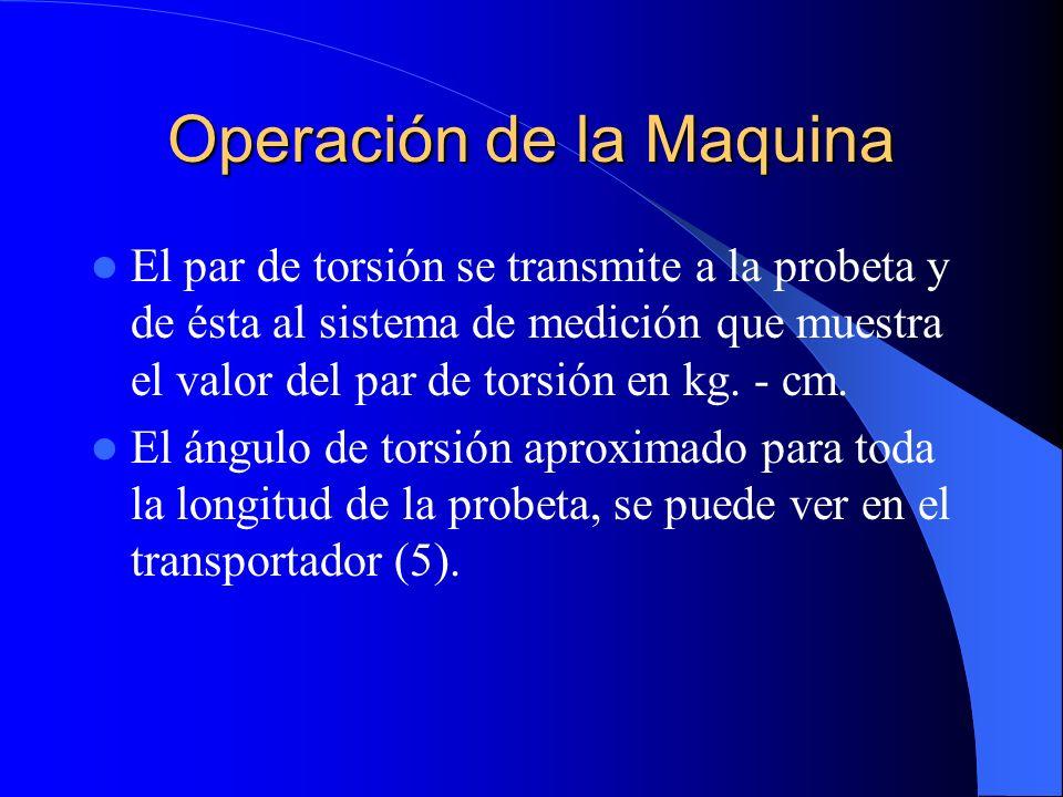Operación de la Maquina El par de torsión se transmite a la probeta y de ésta al sistema de medición que muestra el valor del par de torsión en kg. -