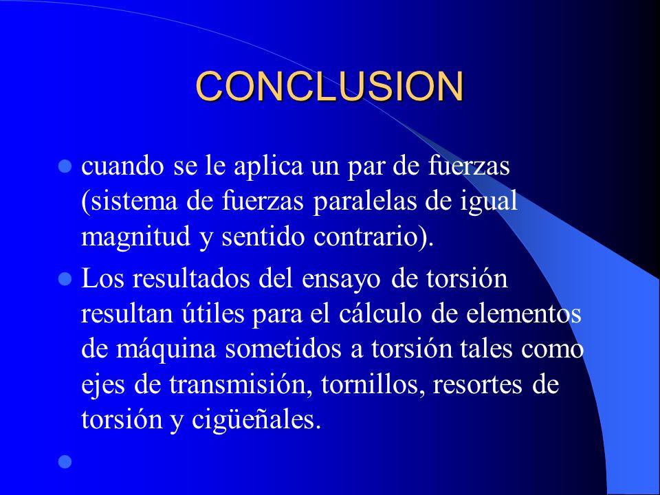 CONCLUSION cuando se le aplica un par de fuerzas (sistema de fuerzas paralelas de igual magnitud y sentido contrario). Los resultados del ensayo de to