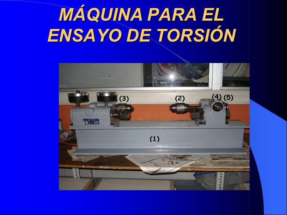 DESCRIPCIÓN GENERAL DE LA MÁQUINA: Especificaciones: Fabricante: Detroit Testing Machine Co Nombre: máquina manual para pruebas de torsión Longitud Máxima de Probeta: 446 mm Longitud Mínima de Probeta: 280 mm Diámetro Máximo de Probeta: 15 mm.